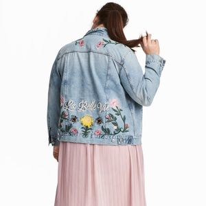 New H&M Embroidered Jean Jacket